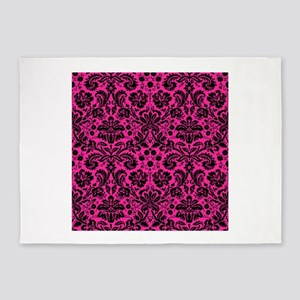 Hot pink and black damask 5'x7'Area Rug