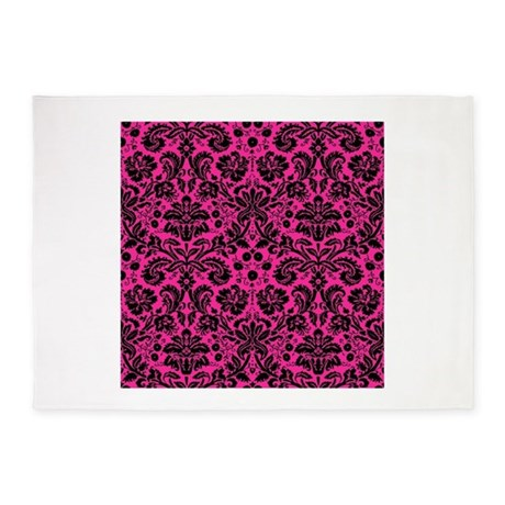 Hot Pink And Black Damask 5 X7 Area Rug By Admin Cp49789583