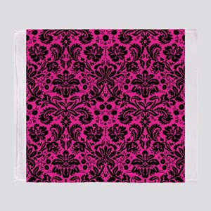 Hot pink and black damask Throw Blanket