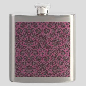 Hot pink and black damask Flask