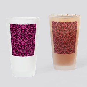 Hot pink and black damask Drinking Glass
