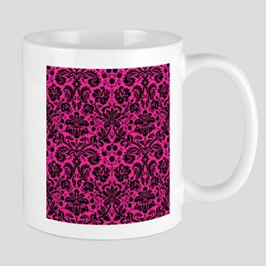 Hot pink and black damask Mugs