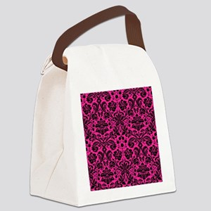 Hot pink and black damask Canvas Lunch Bag