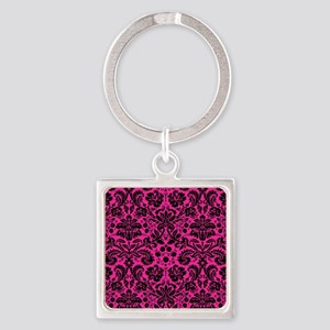 Hot pink and black damask Keychains