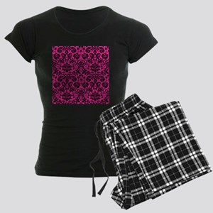 Hot pink and black damask pajamas
