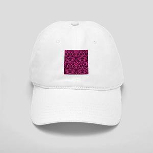 Hot pink and black damask Cap