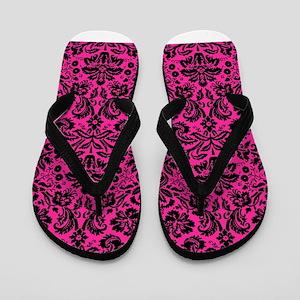 Hot pink and black damask Flip Flops