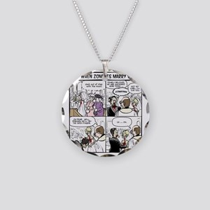 Zombie Wedding Necklace Circle Charm