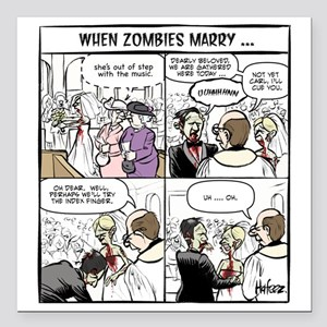 "Zombie Wedding Square Car Magnet 3"" x 3"""