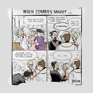 Zombie Wedding Woven Throw Pillow
