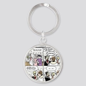 Zombie Wedding Round Keychain