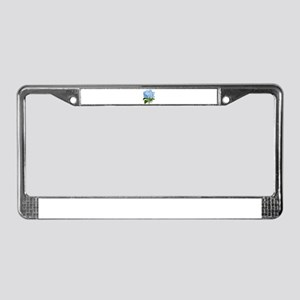 Blue hydrangea flowers License Plate Frame