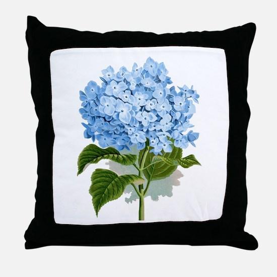 Blue hydrangea flowers Throw Pillow