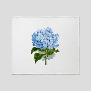 Blue hydrangea flowers Throw Blanket