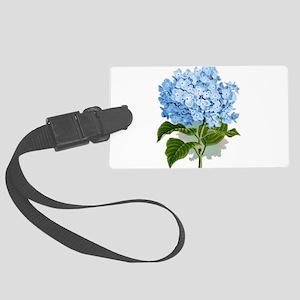 Blue hydrangea flowers Large Luggage Tag