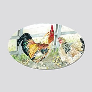 Rooster, Hen  Chicks 20x12 Oval Wall Decal
