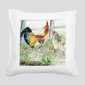 Rooster, Hen  Chicks Square Canvas Pillow