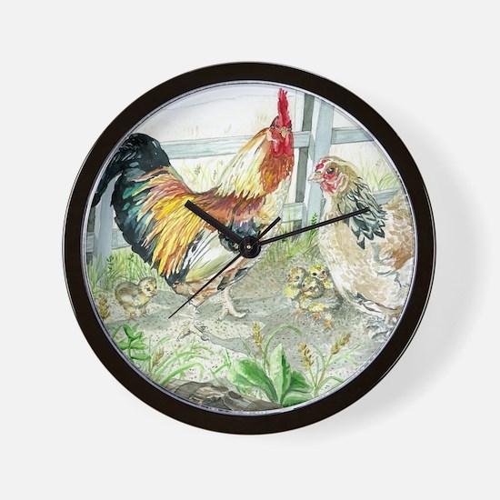 Rooster, Hen  Chicks Wall Clock
