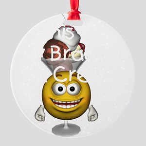 icecreambrain2btran Round Ornament