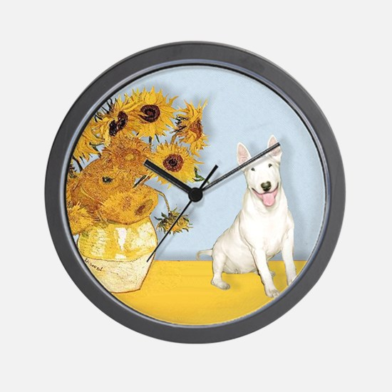 Sunflowers - Bull Terrier 4 Wall Clock