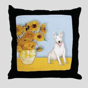 Sunflowers - Bull Terrier 4 Throw Pillow