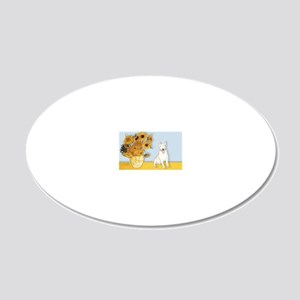 Sunflowers - Bull Terrier 4 20x12 Oval Wall Decal