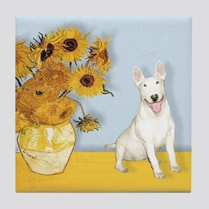 Sunflowers - Bull Terrier 4 Tile Coaster