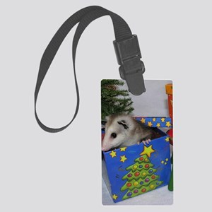 Opossum Christmas Present Large Luggage Tag