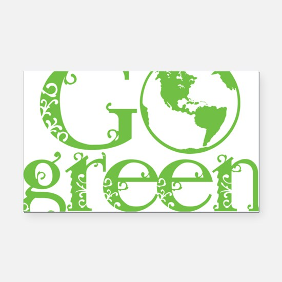 2-Go-Green-blk Rectangle Car Magnet