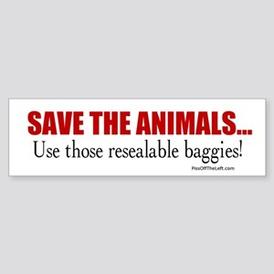 Anti-Hippy Save the Animals Bumper Sticker