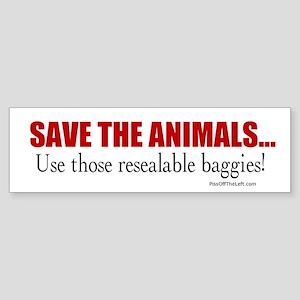 Anti-Hippy Save the Animals Bumper Sticker