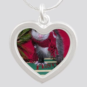 Possum on Christmas sled Silver Heart Necklace
