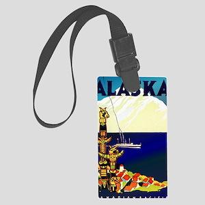 Vintage Travel Poster for Alaska Large Luggage Tag