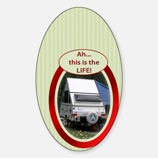 Camping in an A-Liner Sticker (Oval)