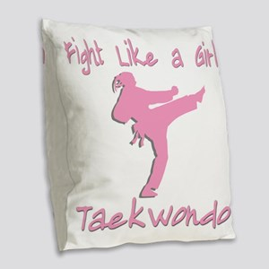 fight like a girl Burlap Throw Pillow