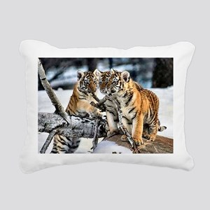 Tiger Cubs in the Snow Rectangular Canvas Pillow