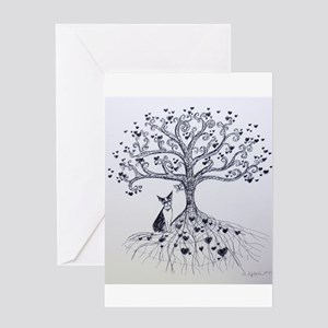 Boston Terrier love tree hearts Greeting Cards