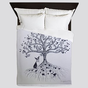 Boston Terrier love tree hearts Queen Duvet