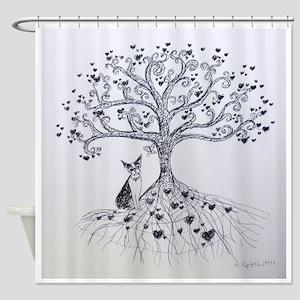Boston Terrier love tree hearts Shower Curtain