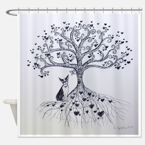 Boston Terrier love tree hearts Shower Curtain
