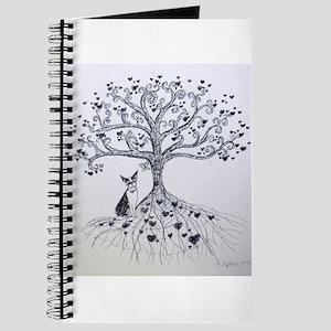 Boston Terrier love tree hearts Journal