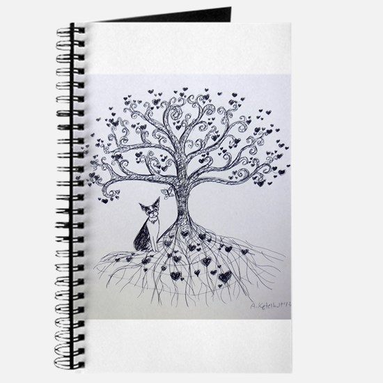 Boston Terrier love tree hearts Journal