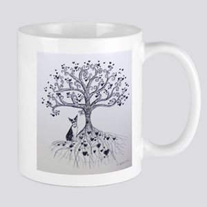 Boston Terrier love tree hearts Mugs