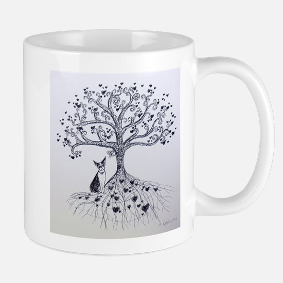 Boston Terrier love tree hearts Mugs