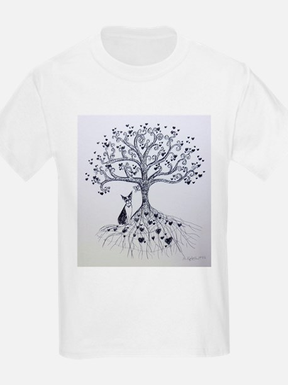 Boston Terrier love tree hearts T-Shirt