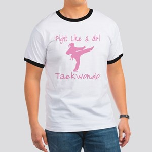 fight like a girl(blk) copy Ringer T