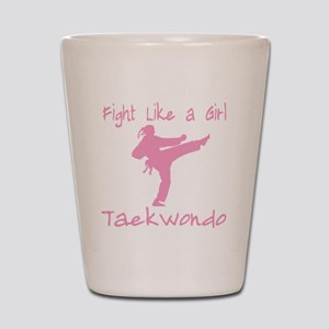 fight like a girl(blk) copy Shot Glass