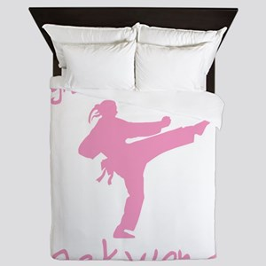 fight like a girl(blk) copy Queen Duvet