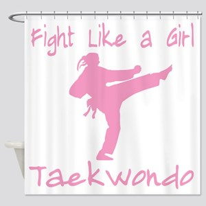 fight like a girl(blk) copy Shower Curtain