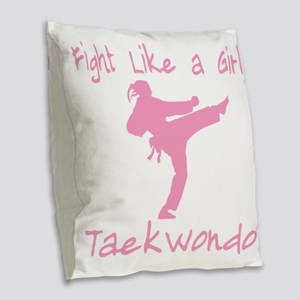 fight like a girl(blk) copy Burlap Throw Pillow